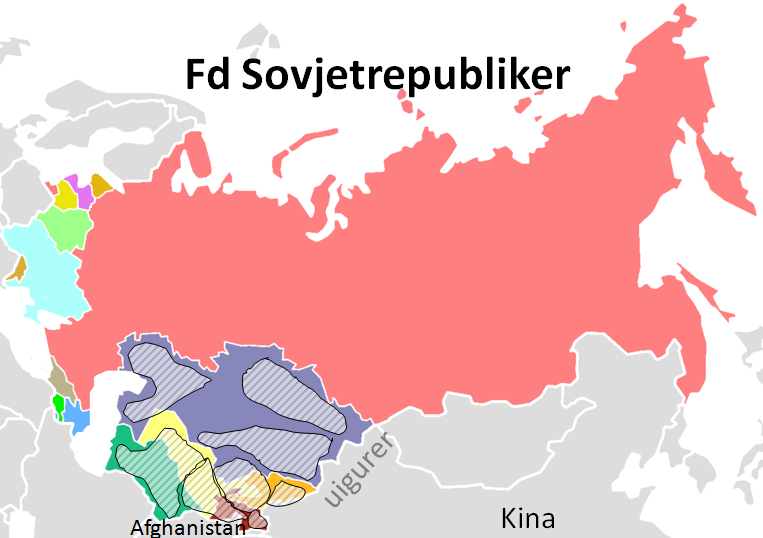 Karta över tidigare Sovjetrepubliker
