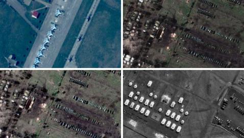 Montage med fyra satellitbilder
