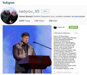 Bild av Ramzan Kadyrovs konto på Instagram