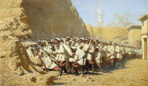 Målning: De ryska truppernas erövring av khanatet Chivas huvudstad (i dagens Uzbekistan). Målning från 1871 av Vasilj Veresjtjagin.