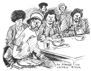 Teckning av män på Moskvakrog
